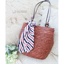 Women Casual Weave Bucket Bag Summer Ladies Woven Straw Beach Bag Female Tote Rattan Bag Handmade Bamboo Knitting Shoulder Bags