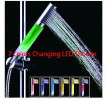 Wholesale Romantic 7 Color Changing LED Shower Head ducha chuveiro led Automatic Control accessories banheiro(China)