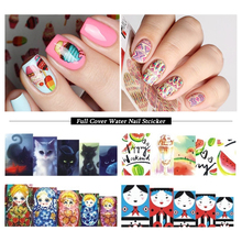 1pcs Full Wraps Water Transfer Sticker Nail Art Decals Cartoon Flowers Tattoos Nail Foil Slider Decoration Tips SASTZ455-469