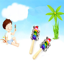 Delicate Baby Kid Rainbow Pram Crib Handle Wooden Bell Stick Shaker Rattle Toy Hot Selling(China)