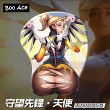"""Over Watch OW MERCY"" Anime 3D Mouse Pad Mat Soft Buttock Gaming Mousepad 26*22*3cm"