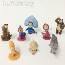 4pcs Gift Masha and Bear Action Figure toy(some repeat).Hard Rubber 4-7cm Top quality Russian Version Masha The Bear Misha