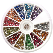 New High Quality 3600pcs Nail Art Tips Decoration 1.5mm Rhinestone Glitter Gem Crystal wheel for Acrylic UV gel system