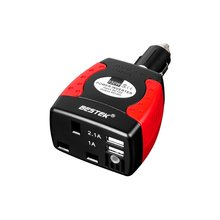 BESTEK 150W Car Power Inverter DC 12V To 230V AC Converter With UK AC Outlet 3.1A Dual USB Ports Auto Power Inverter With USB