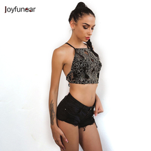 Joyfunear Summer Sexy Women Crop Tops Embroidery Sleeveless Short Camis Ladies Lace Spaghetti Strap Bandage Hollow Camisole(China)