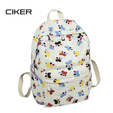 CIKER women canvas printing backpack mochila rucksack fashion shoulder bag cute schoolbags laptop backpack for teenage girls