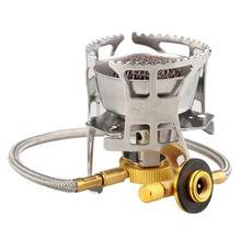 Outdoor Portable Windproof Camping Gas Stove Split Hiking Camping Picnic Cookware Stove Folding Cooking Tools T28