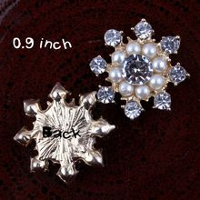 "50pcs 0.9"" DIY Wedding Flatback Fashion Crystal Rhinestone Pearl flower Button Wholesale Hot Sale Jewelry Accessory"