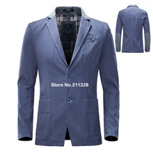 2017 Spring Autumn New Style  Mens Blue Grey Denim Business Suit Blazer Jacket , Formal Casual Elbow Patch Jean Blazers