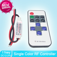 Single Color Remote Control Dimmer DC 12V 11keys Mini Wireless RF LED Controller for SMD 5050 / 3528 led Strip light(China)
