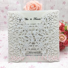 50pcs Laser Cutting Invitation Card Flower Greeting Card Customized For Party Decoration Supplies Free Shipping