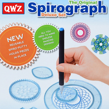 QWZ Spirograph Drawing Toys Set 3 Pen+20 Accessories Creative Draw Spiral Design Creative Drawing For Children Toys Kids Gifts(China)