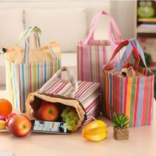 Lovely Striped Canvas Waterproof Lunch Bag Box Portable Insulation Bags Cooler Camping Outing Picnic Food Container Accessories