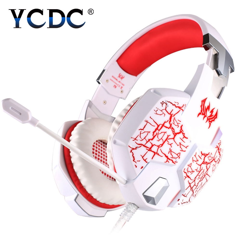 YCDC USB Gaming Headset 3.5mm stereo Surround Deep Bass LED Light Over Ear Headphones With Microphone For Computer PC Gamer<br>