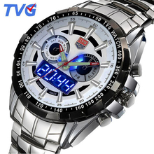 TVG Fashion Luxury Digital Sports Watch Men's Military Dual time Quartz Wrist watch Waterproof Clock Male 2017 Stainless Steel