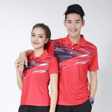 Sportswear Gym Quick Dry breathable badminton shirt,Women/Men table tennis clothes training running match Red POLO T Shirts
