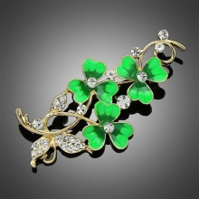 Autumn and winter new lucky clover brooch drop oil flower corsage female high-grade pin shawl buckle H1273