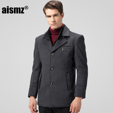 Aismz Winter Jacket Men Thickening Wool Coat Slim Fit Jackets Fashion Outerwear Warm Man Casual Jacket Overcoat Pea Coat 8863(China)