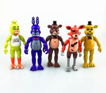5 Pcs/set  15cm Five Nights At Freddy's PVC Action Figure Toy Foxy Gold Freddy Chica Freddy With LED Lights