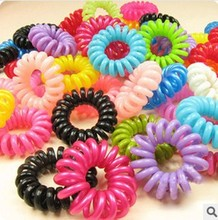 10pcs/lot Telephone Cord Elastic Ponytail Holders Hair Ring Scrunchies For Girl Rubber Band Tie Free Shipping xth040-2
