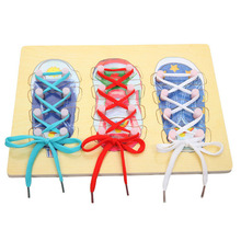 New Educational Toys Wooden Threading Board Early Learning Kids Shoelaces String Rope Puzzle Toy