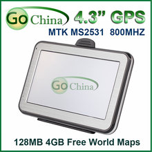 Car GPS 4.3 inch MTK navigator Wince 6.0 ,800MHz, FM, 4G, support MP3,MP4,offer new maps,free shipping