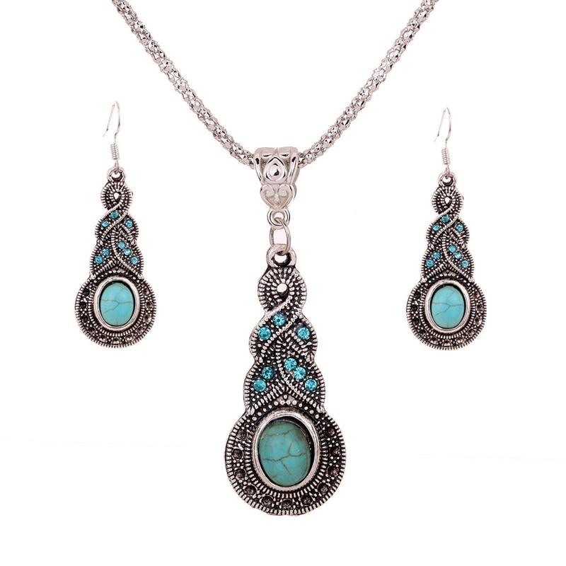 Retro Boho Jewelry Set Charming Punk Women Pendant Necklace Earrings Blue Stone Fashion Jewellery Accessories Gift