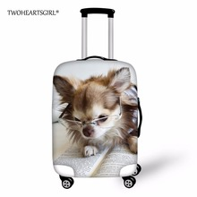 TWOHEARTSGIRL Fashion Dog Design Luggage Covers 20/22/24/26/28/30 inch Elastic Travel Suitcase Cover Trolley Dustproof Protector
