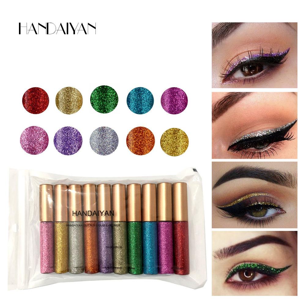 HANDAIYAN 10pcs Eyeliner Glitter Set Eye Waterproof Makeup Liner Shimmer Pigment Silver Gold Metallic Liquid Maquiagem Eyeliner 7