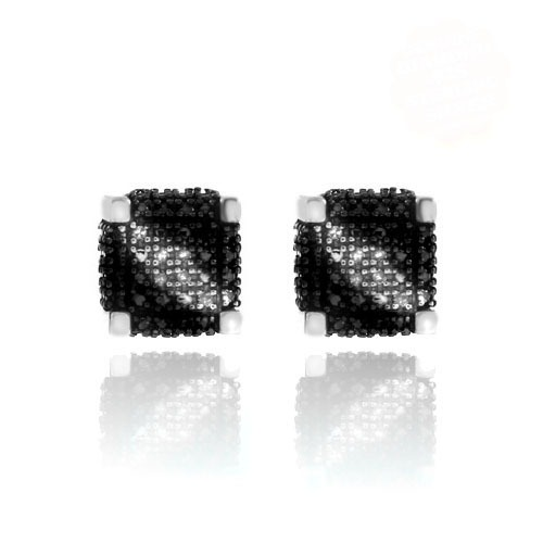 1/10 CT Round Cut Black D/VVS1 Diamond Stud Earrings 18K White Gold Over