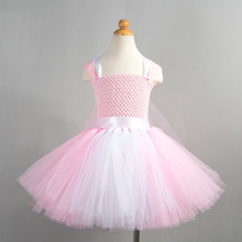 Fairy Pink and White Handmade Tutu Dress for Toddler Girls 2T-12 Years Baby Girl Tulle Ballet Dance Wear Birthday Party Costume