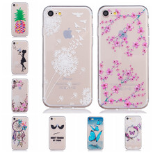 3D Embossed Case Slim Clear Soft TPU Silicone Cover for Apple iPhone 7 iPhone7 Pink Flower Pineapple Butterfly Phone Capa