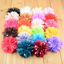 22pcs/lot 22colors 8cm Fashion Chiffon Fabric Flower with Silver Dot For Kids Handmade DIY Crafts Hair Accessories