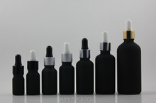30ml black frosted glass bottle with dropper lid,professional cosmetic/dropper container,essential oil glass bottle(China)