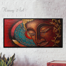 High Skilled Artist Hand-painted Modern Wall Art Buddha Portrait Oil Painting on Canvas Gold Buddha Oil Painting for Wall Art(China)