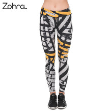 Zohra Unique Design Women Legging Work Out Orange Asphalt Printing Leggings Fashion High Waist Woman Fitness Pants(China)
