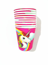 10pcs/lot Unicorn cups kids birthday party supplies Unicorn paper glass happy birthday party Unicorn birthday party