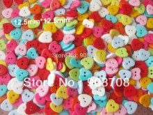 "H0145 fashion button 1/2"" heart shape 200pcs mixed Baby clothes button (colors acceptable)"