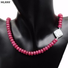Natural Stone Jewelry Vintage Classic Handcrafted Gorgeous Rubies Beaded Necklace (chain length 45cm)(1 pc)(China)