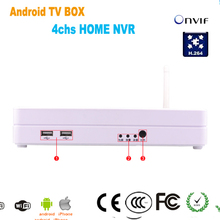 4chs Home NVR ,android TV box ,720P real tim k  e NVR and 1080P output TV monitor ,movie box mini Home Net work recorder
