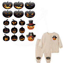 Halloween pumpkin patch 22*11.56cm Children patches for clothing Diy T-shirt Hoodies A-level Thermal transfer sticker(China)