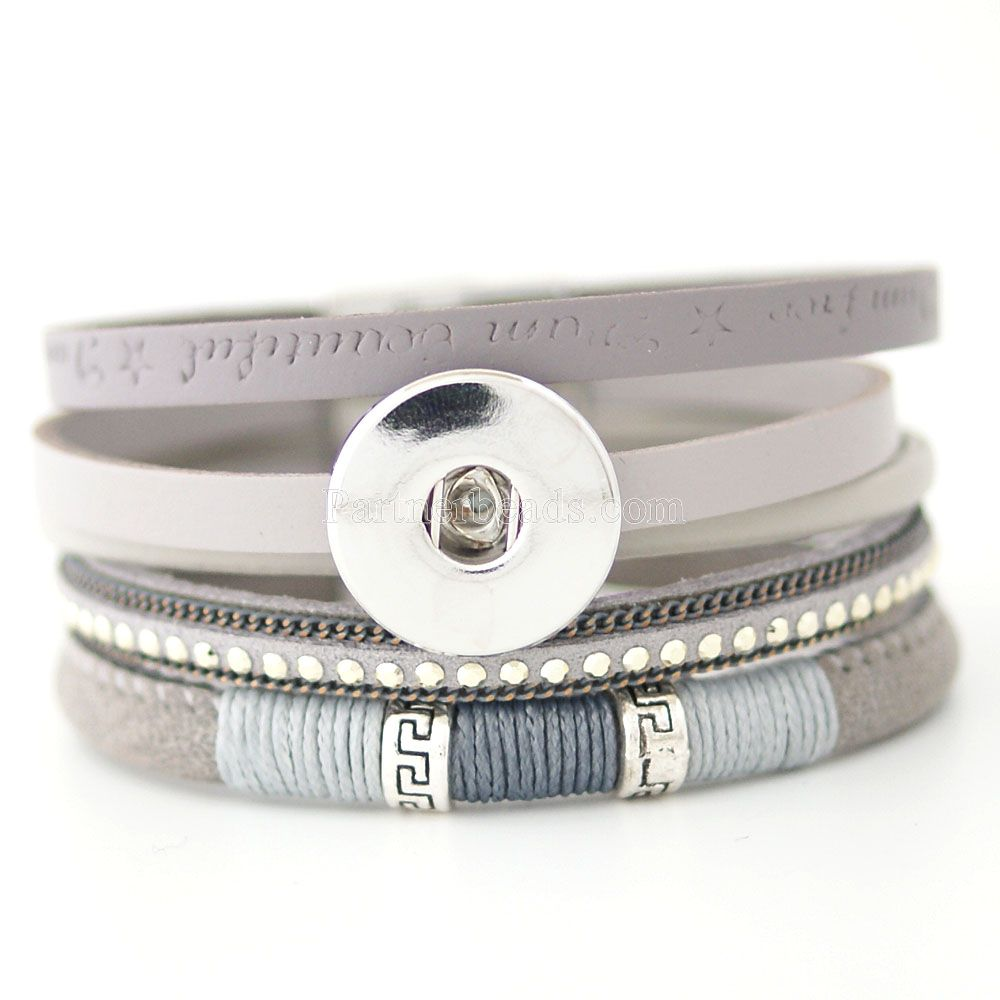 Высокое качество богемный персонализированные плетеный оснастки очарование Браслеты для женщин подходят 18 мм partnerbeads щелкает кнопку Jewelry ...(China (Mainland))