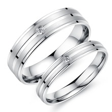 Trendy Stainless Steel Wedding Brands Couple Crystal Rings Couple Rings new arrivel 411