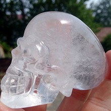 208g high quality natural transparent quartz crystal carving, white crystal skull healing Feng Shui wholesale price