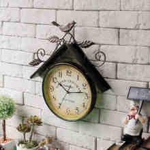 American Countryside Retro Wrought Iron Birds House Wall Clocks Metope Shop Home Decoration 41CM Antique Hanging Clocks(China)