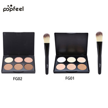 POPFEEL Natural Concealer 6 Colors Contour Palette Makeup Foundation Base Face Cream Cosmetic Make Up Primer With Brush