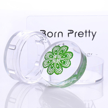 BORN PRETTY 4cm XL Clear Jelly Silicone Nail Stamping Stamper Short Handle with Cap Manicure Nail Art Stamper and Scraper Tools