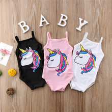 Kids Baby Girls Unicorn Swimwear One-piece Cartoon Sleeveless Swimsuit 2018 Fashion New Children Halter Bathing Suit Beachwear