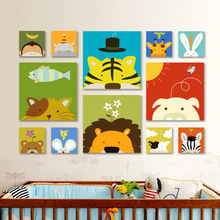 Cute animal Oil Painting cartoon canvas painting children's room decorative painting no frame animation Tiger lion painting