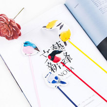 1 pcs Infeel.me Magnetic long tail bookmark High quality satin ribbon bird paper bookmarks stationery school supplie kids gifts
